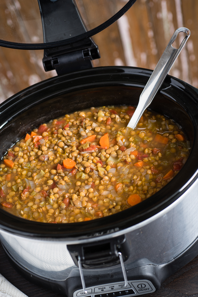 Slow Cooker Vegetarian Lentil Soup from Everyday Good Thinking by @hamiltonbeach