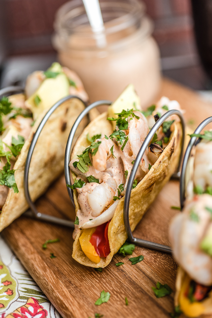 Grilled Tequila Lime Shrimp Tacos from @hamiltonbeach